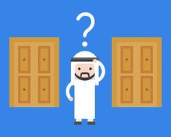 Arab affärsman förvirrar att välja vilken dörr för lösning