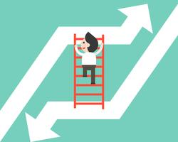 Businessman climbing ladder moving from falling arrow to rising up arrow