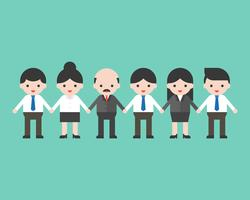 Employees and employer holding hands, business team concept
