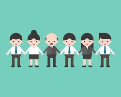 Dipendenti e datore di lavoro che si tengono per mano, concetto del gruppo di affari