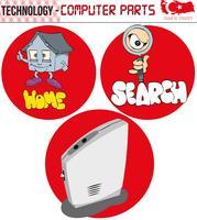 Ordinateur, ordinateur rétro, pièces d'ordinateur, technologie, vecteur, dessin animé, écran, figure, plat