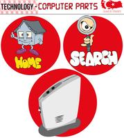 Computer, retro computer, computeronderdelen, technologie, eps, vector, cartoon, scherm, figuur, plat