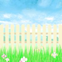 Gardening fence a backyard with blue sky. vector