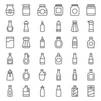 Food and drink container icon set, outline style