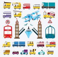 Set van auto's met een brug