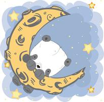 Cute baby Panda on the moon