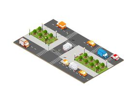 City isometric 3D intersection vector