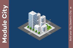 Rascacielos isometrico urbano