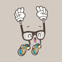 cool nerd glasses mascot vector