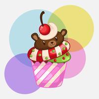 lindo oso cupcakes vector