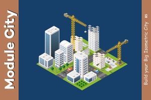 Modul isometrisk stad av hus