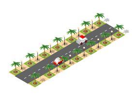 Cidade 3D isométrica de estrada