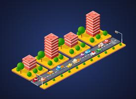 Paysage de la ville 3d coloré