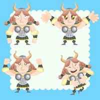 cute vikings vector set