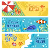 Summer holiday vacation horizontal banners set
