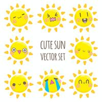 Cute sun vector set