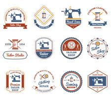 Tailor shop original labels icons set vector