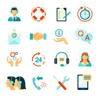 Flat Style Color Icons Of Customer Support vector