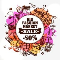 Hipster fashion clothing discount doodle icon