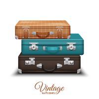 Pila de maletas antiguas de la vendimia