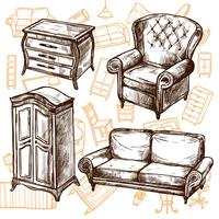 Furniture Sketch Seamless Concept  vector