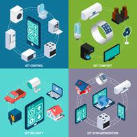 Iot 4 isometric icons square banner  vector