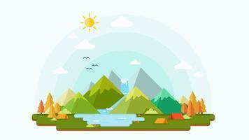 Platte ontwerp van natuur landschap achtergrond