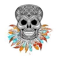 Tribal Skull With Feathers vector