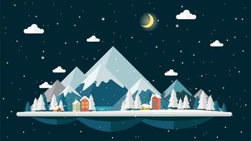 Flat design night of winter Landscape background