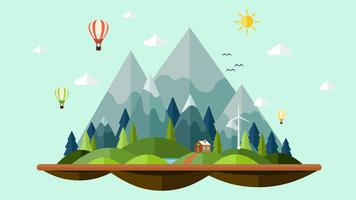Flat design sunny of nature Landscape background