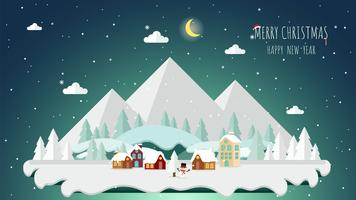 Platte ontwerp van winterlandschap achtergrond