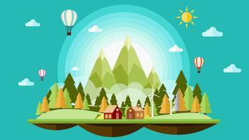 Platte ontwerp zonnige landschap achtergrond