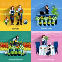 Florista 4 flat icons square composition