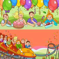 Conjunto de banners de dibujos animados de cumpleaños de niños vector