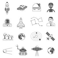 Space cosmos black icons set