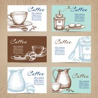 Vintage coffee cards banners set