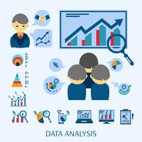 Data analysis concept flat icons composition