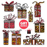 Holiday presenta cajas set color doodle