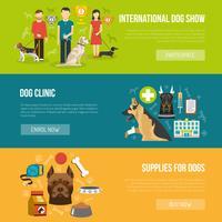 Conjunto de banner de perro vector