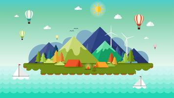Flat design of Landscape background