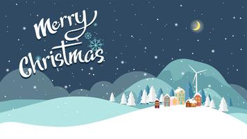 Flat design of Christmas Landscape background