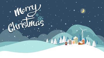 Platte ontwerp van Kerstmis landschap-achtergrond