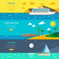 Nautical travel concept horizontal banners set