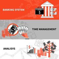 Conjunto de banners planos horizontales de negocios de finanzas