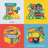 Lottery Flat Set vector
