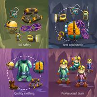 Speleologie 4 3D-pictogrammen vierkante banner