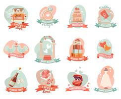 Wedding marriage engagement emblems stickers set vector