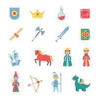 Conjunto de ícones plana de símbolos de jogos medievais