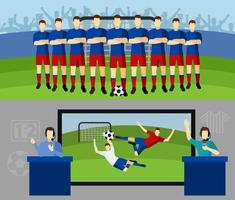 Équipe de football 2 bannières plat