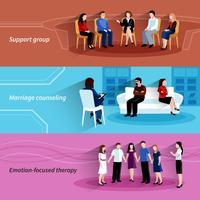 Conjunto de banners planos de terapia de consejería de relación
